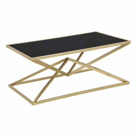 Tavolino da Caffè Rettangolare di Design Moderno in Ferro e Vetro - Maggie