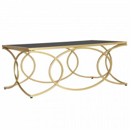 Tavolino da Caffè Rettangolare in Ferro e Specchio di Design - Allegria