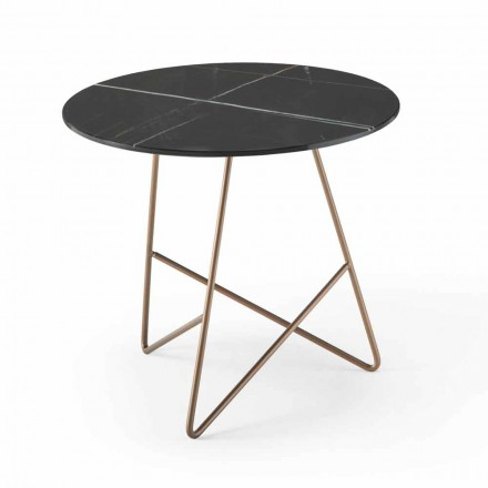 Tavolino da Caffè Tondo in Metallo e Vetro Effetto Marmo di Lusso- Magali