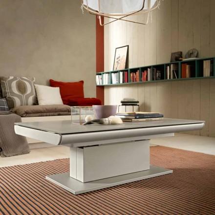 Tavolino da Caffè Trasformabile in Vetro e Acciaio Made in Italy - Silvestro