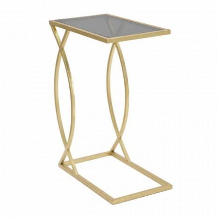 Tavolino da Divano Rettangolare di Design Moderno in Ferro e Vetro - Herbie