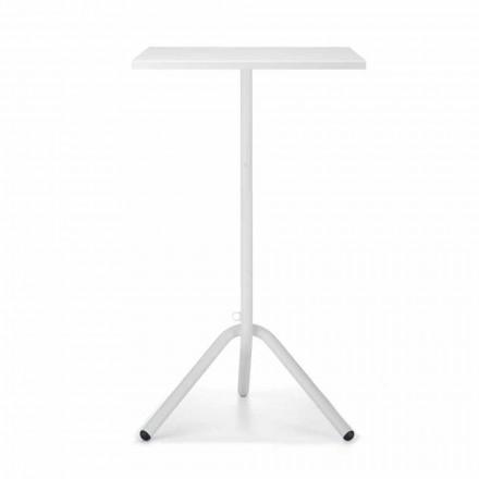 Tavolino da Esterno Alto Quadrato in Metallo e Lamiera Made in Italy - Archibald