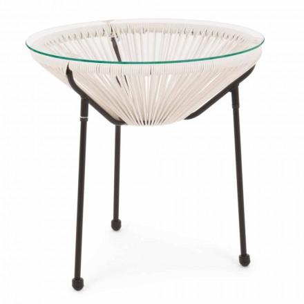 Tavolino da Esterno in Acciaio con Piano in Vetro di Design - Spumolizia