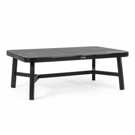 Tavolino da Esterno in Alluminio Nero con Piano in Vetro Homemotion - Morena