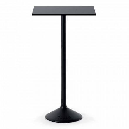 Tavolino da Esterno Quadrato Alto in Metallo Ghisa HPL Made in Italy - Crispian