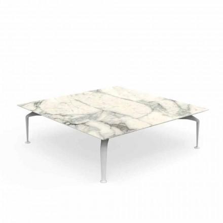 Tavolino da Esterno Quadrato in Gres Calacatta di Design – Cruise Alu by Talenti