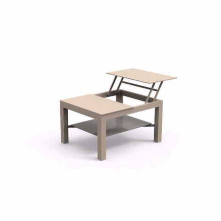 Tavolino da giardino apribile, piano in vetro serigrafato Chic Small