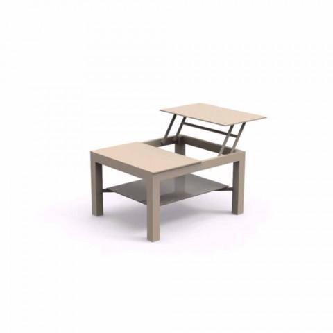 Tavolino da giardino apribile moderno con piano in vetro serigrafato Chic Small