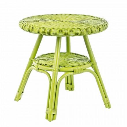 Tavolino da Giardino Tondo in Rattan di Design, Diametro 52 cm - Favolizia