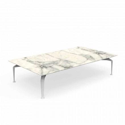 Tavolino da Giardino di Design Moderno in Gres Calacatta – Cruise Alu by Talenti