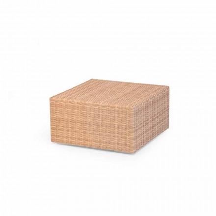 Tavolino da giardino in polietilene miele intrecciato a mano Cooper