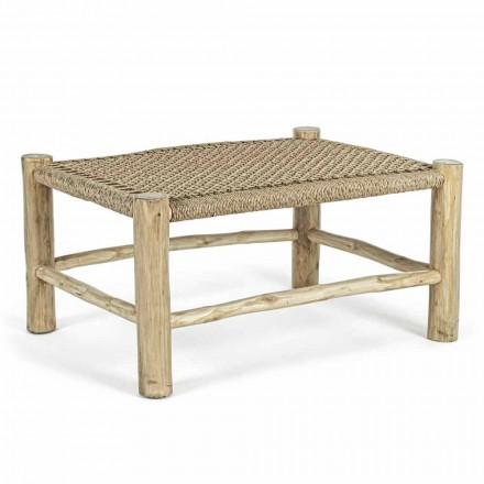 Tavolino da Giardino in Rami di Teak con Piano in Intreccio di Fibra - Tecno