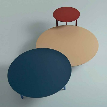 Tavolino da Salotto 3 Gambe in Acciaio e Piano in Legno Colorato - Pretty