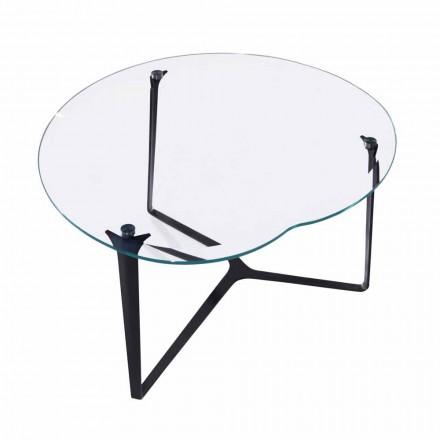 Tavolino da Salotto, Artigianale, in Vetro e Acciaio Made in Italy - Alicante