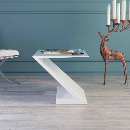 Tavolino da salotto bianco design moderno Zeta made in Italy