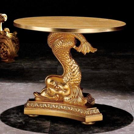 Tavolino da salotto classico in legno massello intagliato a mano,Ciro