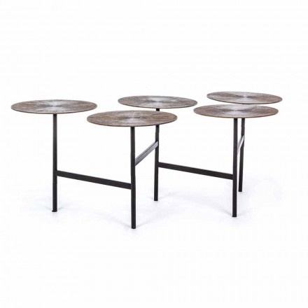Tavolino da Salotto con 5 Piani Rotondi in Alluminio Homemotion - Pollino