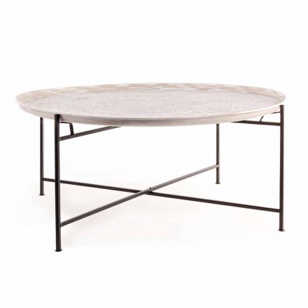 Tavolino da Salotto con Piano Rotondo e Base in Acciaio Homemotion - Tullio