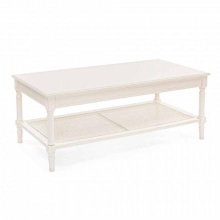 Tavolino da Salotto Design Classico in Legno e Rattan Homemotion - Raino