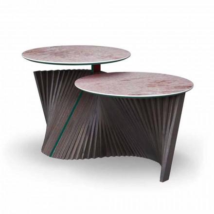 Tavolino da Salotto di Lusso a 2 Piani Rotondi in Gres Made in Italy - Stoccolma
