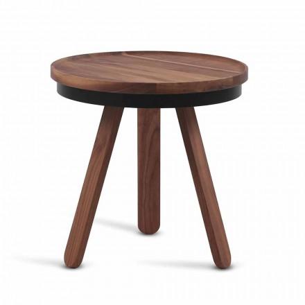 Tavolino da Salotto Design con Piano Rotondo e Gambe in Legno Massello - Salerno