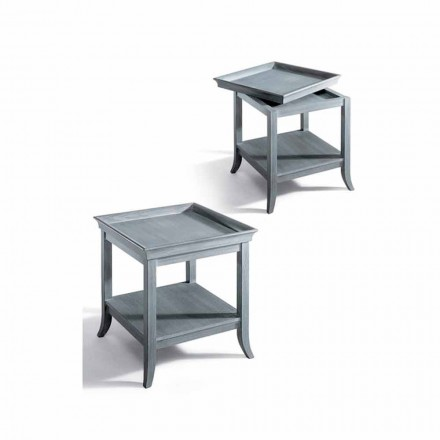 Tavolino da salotto design in legno laccato grigio, 60x60 cm, Marcus