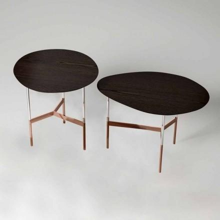 Tavolino da Salotto di Design con Piano in Legno Made in Italy - Cinci