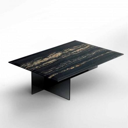 Tavolino da Salotto di Design in Marmo con Base in Vetro Made in Italy - Molino