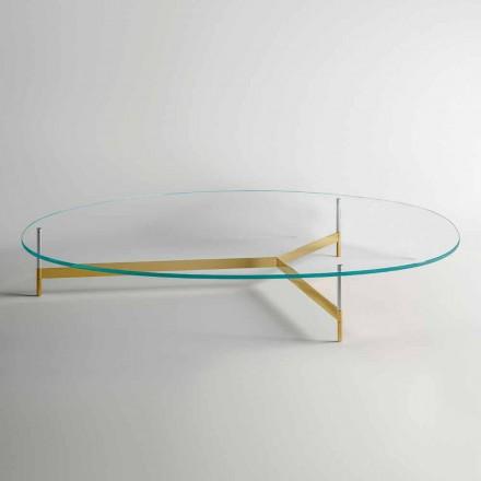 Tavolino da Salotto di Design in Vetro con Base in Metalo Made in Italy  - Cinci