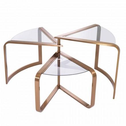 Tavolino da Salotto di Design in Vetro con Dettagli in Finitura Rame - Carpi