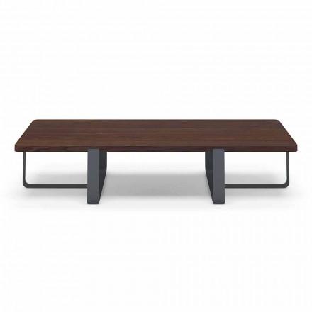 Tavolino da Salotto di Lusso in Metallo Colorato e Piano in Legno - Anacleto