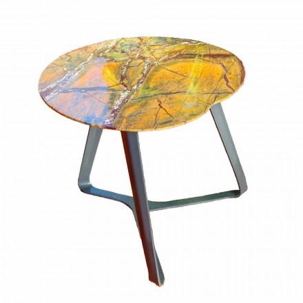 Tavolino da Salotto Fatto a Mano in Marmo e Acciaio Made in Italy - Prince