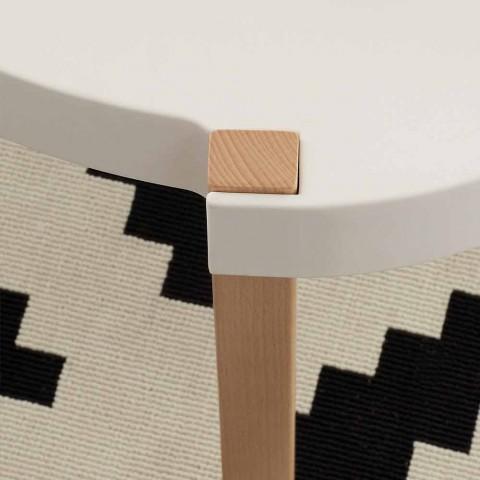 Tavolino da salotto in faggio con piano in polipropilene bianco Pineto