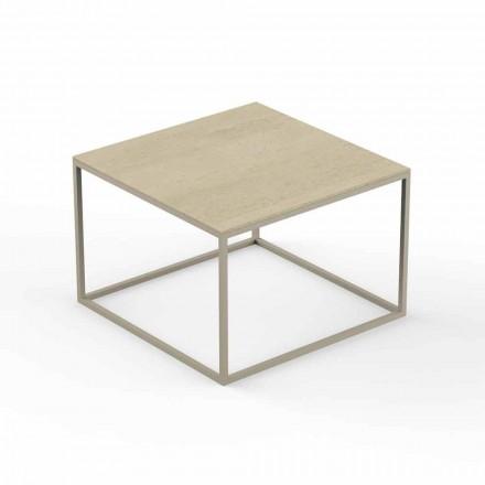 Tavolino da Giardino di Design, Piano Quadrato Effetto Marmo - Suave by Vondom