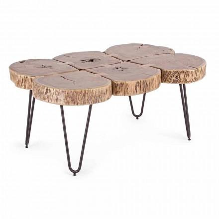 Tavolino da Salotto in Legno di Acacia e Acciaio Verniciato Homemotion - Havana