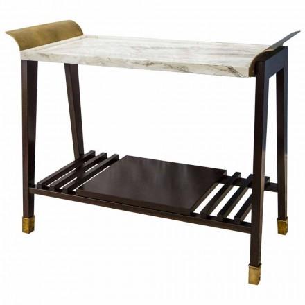 Tavolino da Salotto in Legno di Ciliegio, Marmo e Ottone Made in Italy - Barto