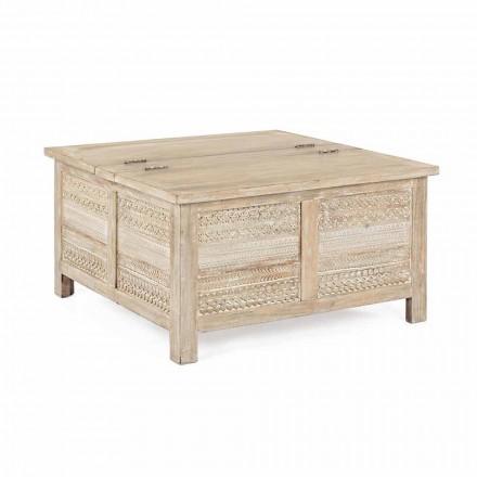 Tavolino da Salotto in Legno di Mango con Contenitore Homemotion - Mixo