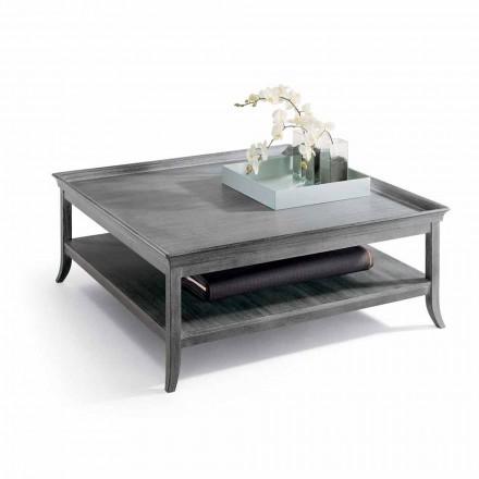 Tavolino da salotto in legno laccato argento, L130xP130 cm,Berit