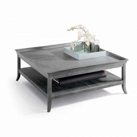Tavolino da salotto in legno laccato argento, L130xP130 cm, Berit