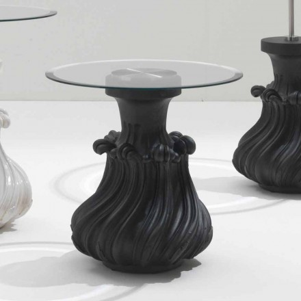 Tavolino da salotto in legno massello e cristallo diametro 60cm,Margo