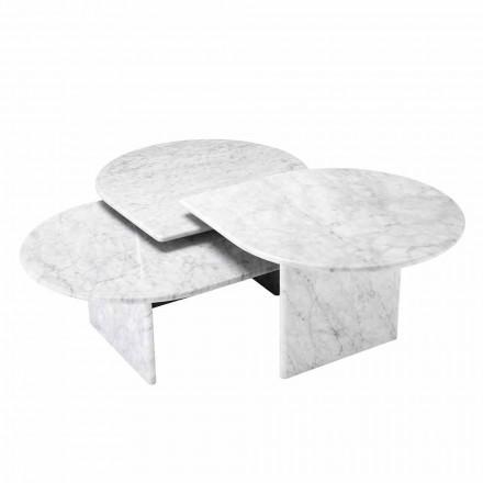 Tavolino da Salotto in Marmo Bianco di Carrara Formato da 3 Pezzi - Marsala