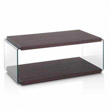 Tavolino da Salotto in Mdf Noce e Vetro Trasparente in 2 Misure - Mindie
