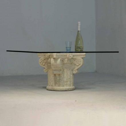 Tavolino in Pietra di Vicenza e cristallo scolpito a mano Balos