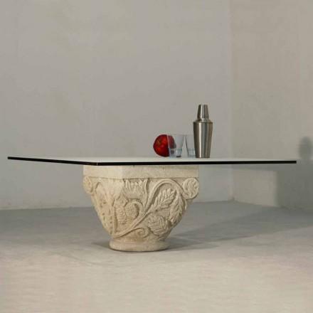 Tavolino scolpito a mano in Pietra di Vicenza e cristallo Mytros