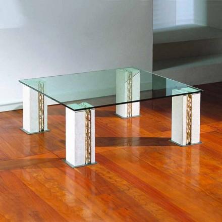 Tavolino in Pietra di Vicenza e cristallo, scolpito a mano, Milos