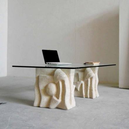 Tavolino in Pietra di Vicenza e cristallo  Priamo-S, scolpito a mano