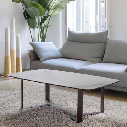 Tavolino da Salotto in Vetro Ceramica con Base in Metallo Verniciato - Camilo