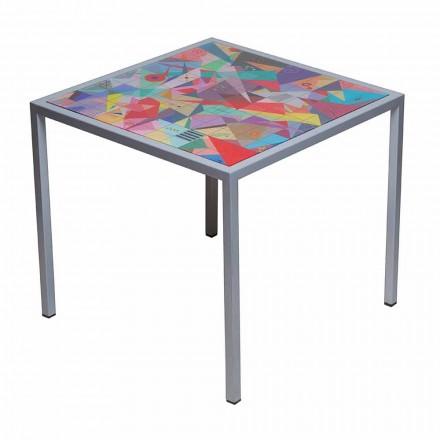 Tavolino da salotto moderno 50x50cm in metallo Nina, made in Italy