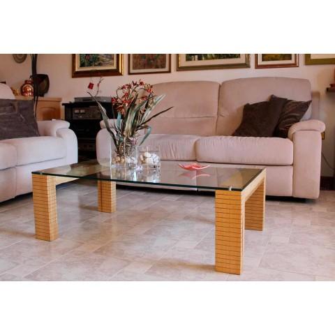 Tavolini Da Salotto In Legno Moderni.Tavolino Da Salotto Moderno In Cristallo E Legno Massello Made In Italy Narseo
