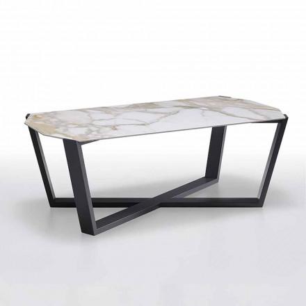Tavolino da Salotto in Gres e Legno, Alta Qualità Made in Italy - Titanic